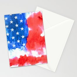 Watercolor flag of America Stationery Cards