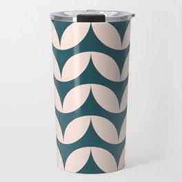 Geometric Leaf Shapes in Teal and Blush Travel Mug