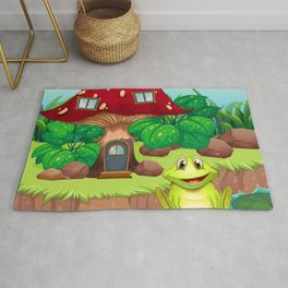 Froggy with a Mushroom House Rug