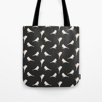 gray pattern Tote Bags featuring Dark Gray Birds Pattern by Allyson Johnson