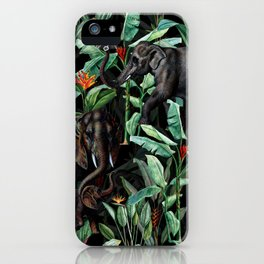 Vintage & Shabby Chic - Tropical Jungle and Elephants Night iPhone Case