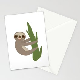 Three-toed sloth on green branch on white background Stationery Cards