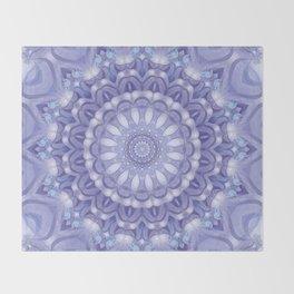 Light Blue, Lavender & and White Mandala 02 Throw Blanket