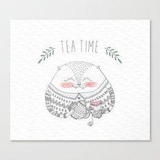tea time cat Canvas Print