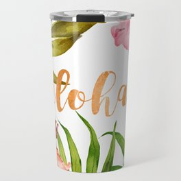 Aloha Watercolor Tropical Hawaiian leaves and flowers Travel Mug