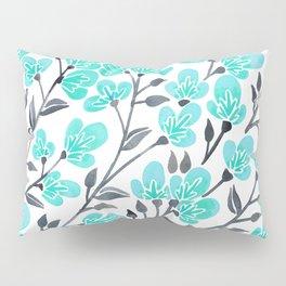 Cherry Blossoms – Turquoise & Black Palette Pillow Sham