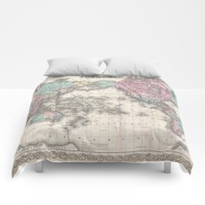 Vintage World Map from 1855 (Geographic Atlas of the World, America, Europe, Australia Map) Comforters