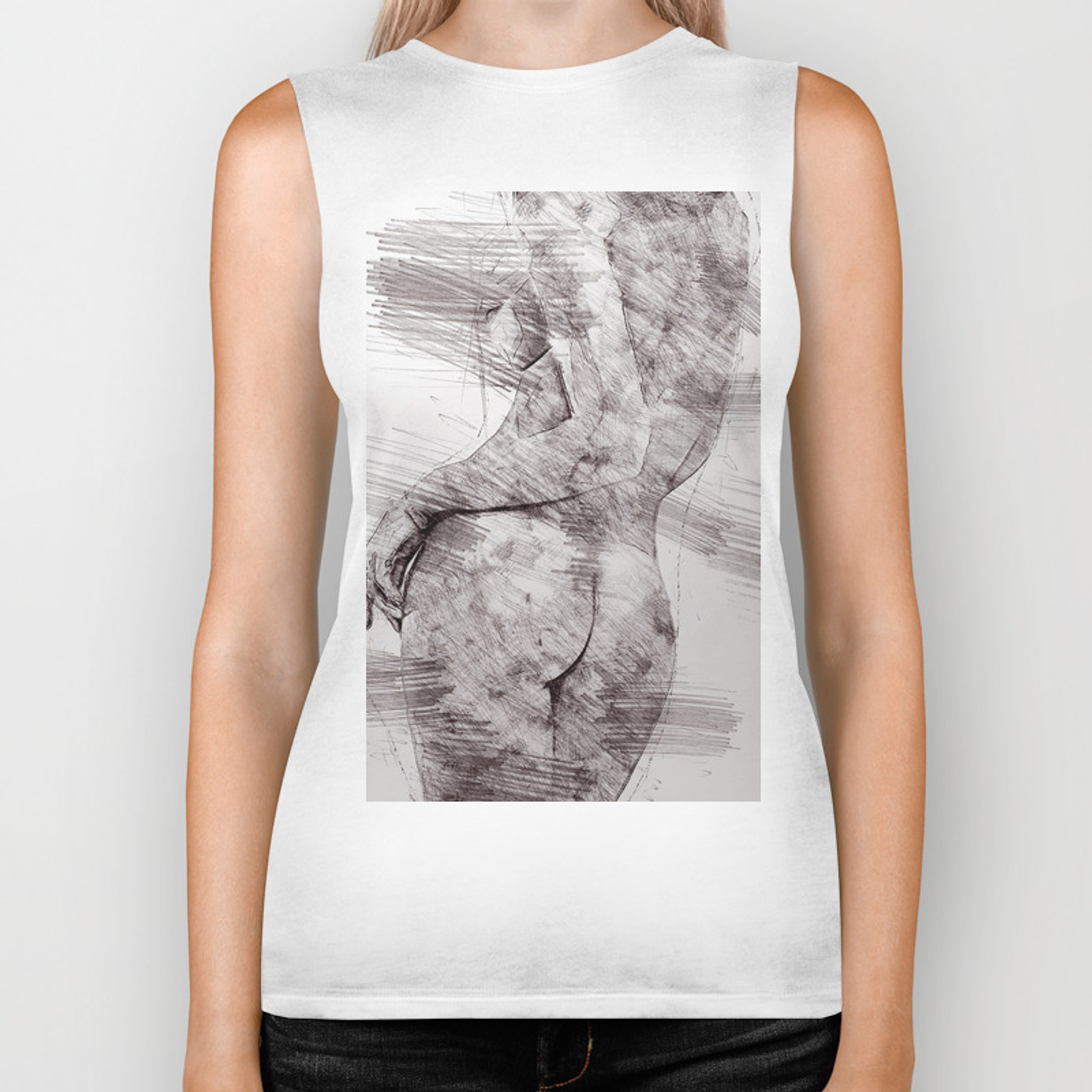 Nude woman pencil drawing biker tank by annsp society6