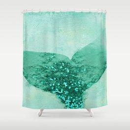 A Mermaid's Tail III, painterly coastal art, aqua metal Shower Curtain