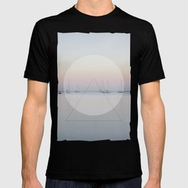 Calm Sea Sail Boats Geometric Nature Art T-shirt