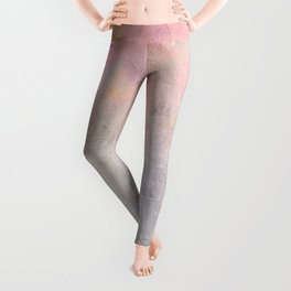 Pastel Candy Iridescent Marble on Concrete Leggings