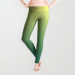 Yellow Lime Quetzal Green Ombre Gradient Pattern Leggings