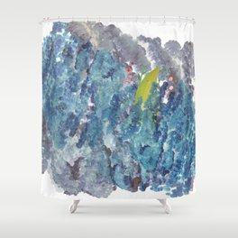 GREENMAN WALKING THOUGH THE BLUE. Shower Curtain