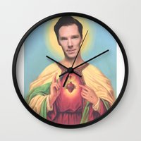 benedict cumberbatch Wall Clocks featuring Benedict Cumberbatch by Michelle Wenz