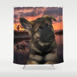 Loki German Shepherd Shower Curtain
