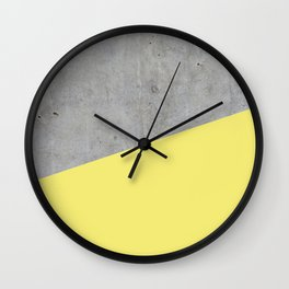 Concrete and Yellow Color Wall Clock