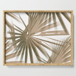 Brown on White Tropical Vibes Beach Palmtree Vector Serving Tray