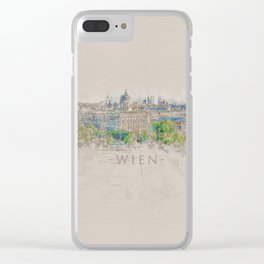Vienna City Sketch - Digital Art Clear iPhone Case