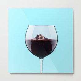 Hippo in Wine Metal Print
