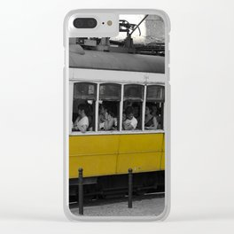 Tram Smoking in Lisbon Clear iPhone Case