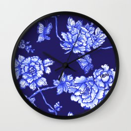 Chinoiserie Foral Navy Wall Clock