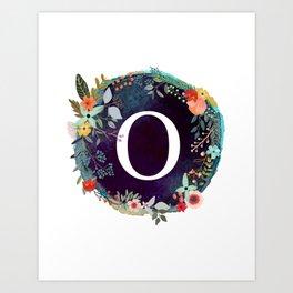 Personalized Monogram Initial Letter O Floral Wreath Artwork Art Print