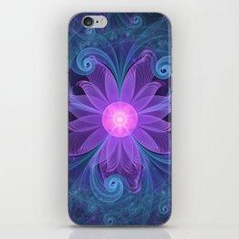Blown Glass Flower of an ElectricBlue Fractal Iris iPhone Skin
