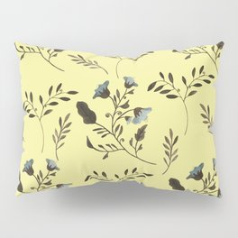 Butter Yellow and Bluebells and Bluebirds Floral Pattern Flowers in Blue and Bark Brown Pillow Sham