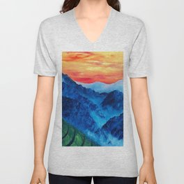 Mountains in Peru, Colorful Original Modern Oil Painting by Lu Unisex V-Neck