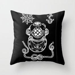 Deep Sea Diver Helmet Illustration Invert Throw Pillow