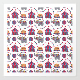 Colorful red blue gray watercolor elephant circus pattern Art Print