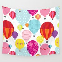 hot air balloons Wall Tapestries featuring Hot air balloons by Tat Georgieva