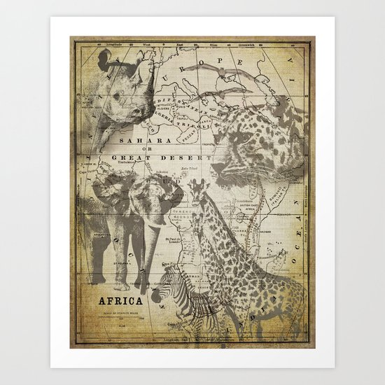 Out of Africa vintage wildlife art Art Print
