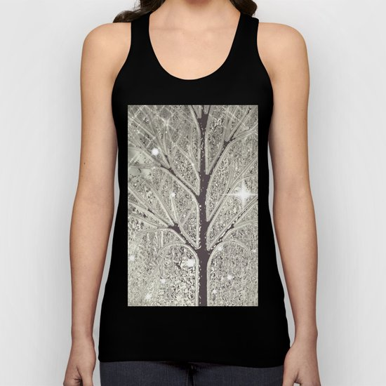 Winter sparkly night in black and white  Unisex Tank Top