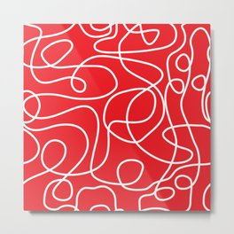 Doodle Line Art | White Lines on Bright Red Metal Print