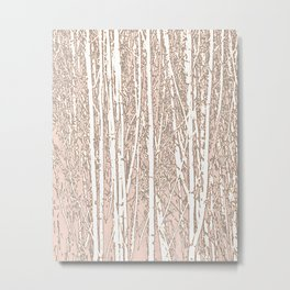 Birch Trees Pattern Pastel Pink Metal Print