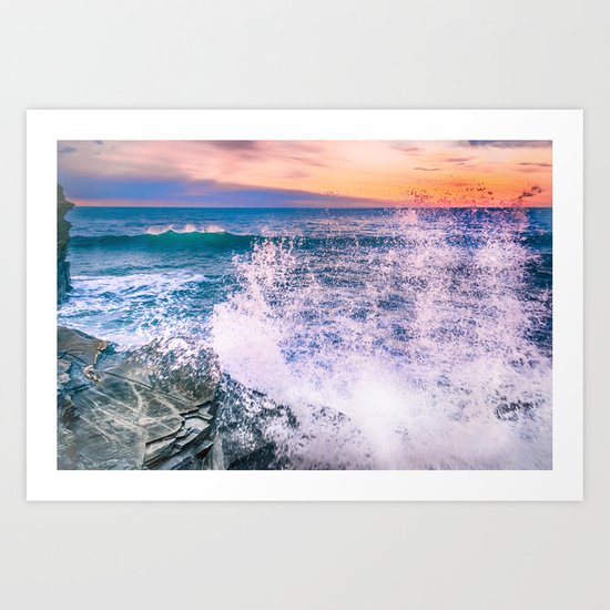 Surf Atlantic Rocky Coast Art Print