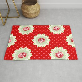 Shabby Chic Rose Pattern Rug