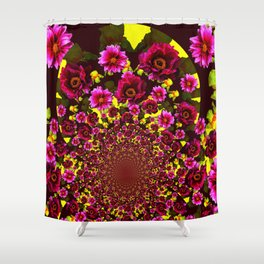GRAPHIC MODERN DARK FUCHSIA & YELLOW FLORALS Shower Curtain