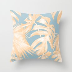 Tropical Leaves Citrus on Ocean Blue Throw Pillow