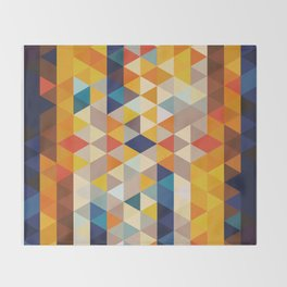 Geometric Triangle - Ethnic Inspired Pattern - Orange, Blue Throw Blanket