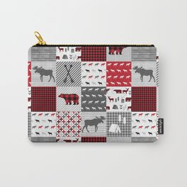 Plaid camping cabin outdoors nature quilt design gender neutral kids baby design Carry-All Pouch