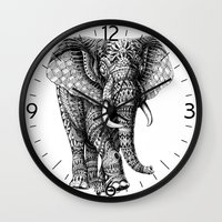 bioworkz Wall Clocks featuring Ornate Elephant v.2 by BIOWORKZ