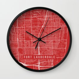 Fort Lauderdale Map, USA - Red Wall Clock