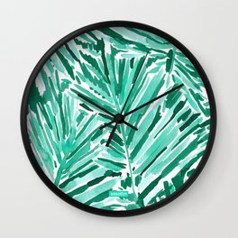ON VACAY Green Palm Leaves Wall Clock