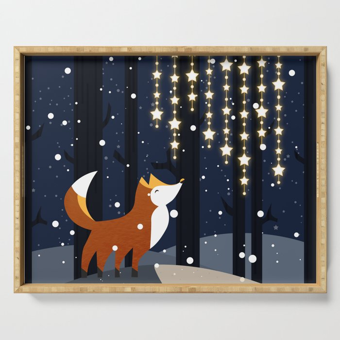 Fox and stars Serving Tray