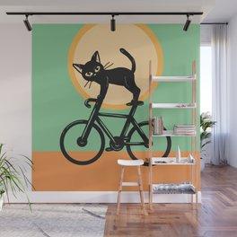 Cat loves a bike Wall Mural