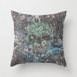 Floral Skull Flat Throw Pillow