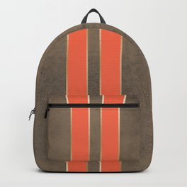 Vintage Hipster Retro Design - Brown Leather with Gold and Orange Stripes Backpack
