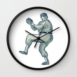 Baseball Pitcher Pitching Etching Wall Clock